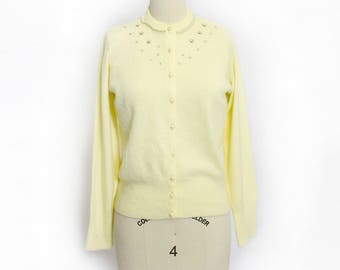 Vintage 1950s Cardigan - Light Yellow Embellished Rhinestone Pearl Orlon Fitted Sweater 50s - Small
