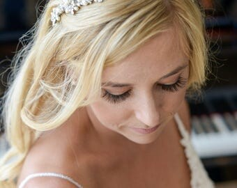 Bridal Headband, Crystal Wedding Headband, Wedding Bridal Hair Accessories, Freshwater Pearl Hairband, Rhinestone Leaf Vine Headband, ELVINA