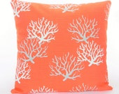 Coral Gray Beach Throw Pillow Cushion COVER Decorative Pillow Salmon Nautical Couch Sofa Pillow Bedding Shams ALL SIZES Cottage Decor