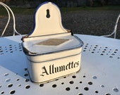 RESERVED for P - French Antique Enamel Allumettes, Matches Pot