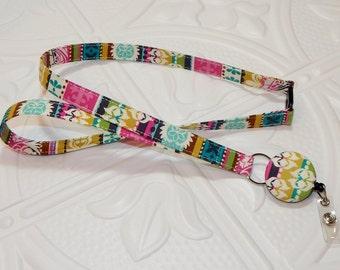 Fabric Breakaway Badge Holder Lanyard With Retractable Badge Reel Multi Colored