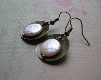 Coin Pearl Vintage Earrings - Pearl Cup Earrings - Metalwork Earrings - Handmade Artisan - Petite Lightweight Timeless Everyday Earrings