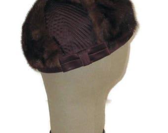 60s Fur Hat Fur Pillbox Hat Fur Satin Hat Brown Fur Hat Brown Satin Hat 1960s Pillbox with Bow 60s Brown Mink Hat Vintage Fur Hat