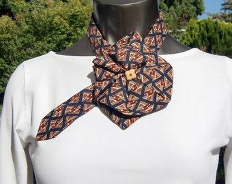 Ladies Silk Necktie Scarf, Upcycled Fashion Accessory, Triangle Pattern, black rust ivory, Silk Scarf Ascot, Necktie necklace, Silk Collar