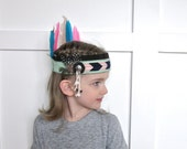 Indian Princess Headdress // MINT, PINK, & NAVY // Stretch to fit // for 3+