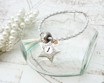 Personalized Name Bracelet - PMC pendant, PMC Jewelry, PMC Braclet, Silver Bracelet, Star Pendant