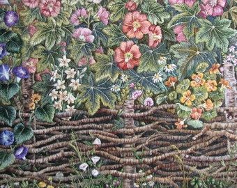 Floral Landscape - Hand Made Embroidery - Country Cottage Style Wall Decoration