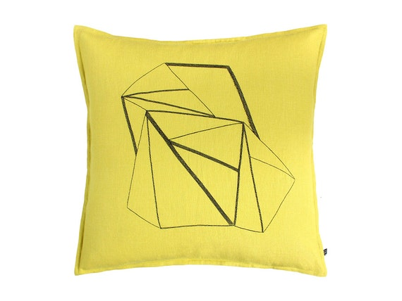 Linen decorative pillow cover, Mustard pillow with geometric embroidery, Throw pillow cover, Accent pillow cover, Geometric pillow cover.