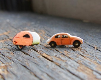 Wanderlust Pink Post Earrings Retro Beetle Camper Trailer Travel Vintage Inspired Quirky Jewelry For Her Accessories Kitschy
