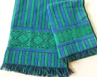 Green and Blue Striped Bath and Hand Towels Set with Damask Trim and Fringe by Callaway Retro Bathroom Decor