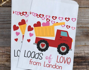 Valentines Day Construction Personalized Goodie Cookie Paper Bags for Dump Truck Boys Party Favors, or Giveaways