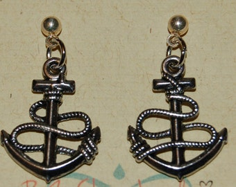 Silver Anchor Earrings Dangle Earrings Woman Child Girl Kids Gift for Her