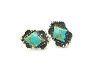 Silver Cuff Links. Mens Cufflinks. Navajo Turquoise. Diamond Shape, Blue, Brown Gemstone. Handmade, Signed DS. Vintage 1960s Native American