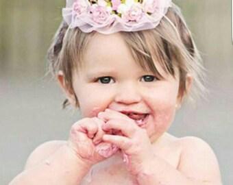 Princess Crown, First Birthday, Baby Headband, Pink Baby Headband, First Birthday, Birthday Headband, Flowers Hair, Shabby Chic Headband