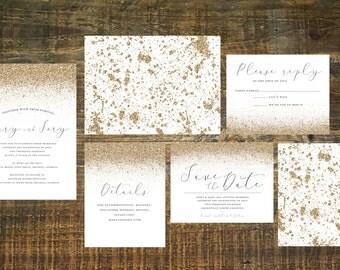 Gold Wedding Invitation Suite (Set of 25)   Metallic Invitations, Gold Invites, Glitter, Wedding Invitation Set, Gold