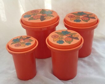 Set of Four Rubbermaid Orange Canister Containers