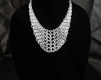 Chainmail bib necklace, aluminum chainmaille necklace, chunky chain necklace