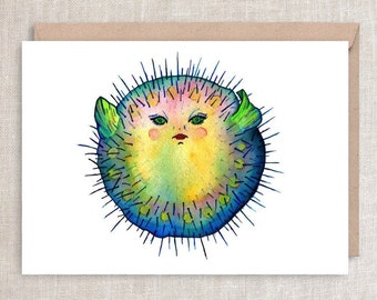 PUFFER FISH - Soon You'll Feel Like Yourself Again  - Get Well, feel better, menopause, sympathy and encouragement Greeting Card