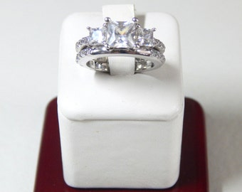 Sterling Silver and CZ Princess Cut Wedding Set