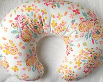 Floral Nursing Pillow Cover / Nursing Pillow Cover / Floral Baby Bedding, Girl Nursing Pillow, Baby Shower Gift, Floral Crib Bedding