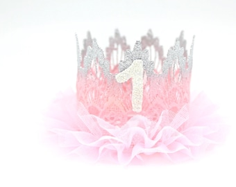 Birthday ||Silver + Pink ombré extra FLUFFY tutu lace crown || Sienna || ballerina ||customize any age