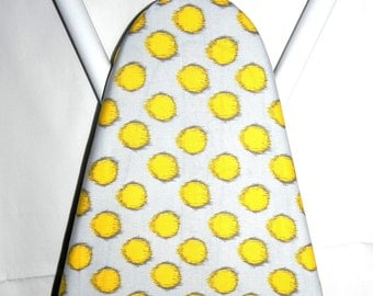 Ironing Board Cover - Blue and Yellow polka dots fabric
