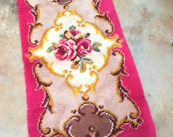 Rug Area Rug Hand Made Vintage 1950 Classic Rose Pattern Tufted Wool French Style Pink Gold Scroll Magenta