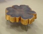 CUSTOM RESERVE for Greg - urban salvage live edge coffee table - nimbus cloud coffee table - ebonized - with midcentury modern hairpin legs