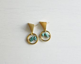 Bachue Earrings // Brass + Turquoise