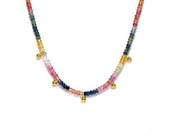 18K Yellow Gold & Multicolor Sapphire Necklace