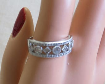 Sterling Openwork Cubic Zirconia Band, CZ Wedding Band, CZ Anniversary Band