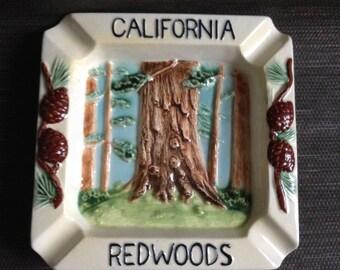 California Redwoods Ashtray.  Vintage 1950.  Souvenir .  Mid century modern, Kitsch, Eames era.  Made in Japan