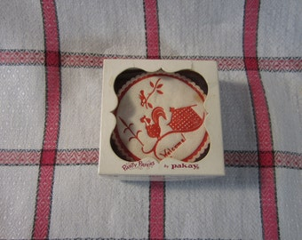 """VTG 1950 """"Pakay"""" Brand Cotton Padded Super Absorbent Coasters in Original Box-15 Total"""