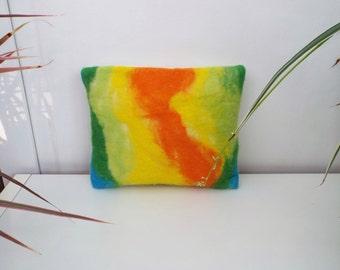 Wool Cushion, Felted Cushion, Felted Home Decor, Multicoloured Cushion, Winter Home Decor