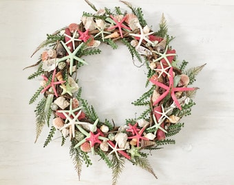 "18"" Beach Wreath, Coastal Wreath, Seashell Wreath Starfish Wreath Beach Decor Coastal Decor Shell Wreath Coastal Valentine Wreath Red Wreath"