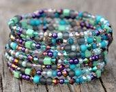 Eclectic Mermaid Mix  Wrap Bracelet