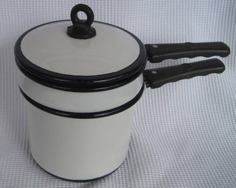 Vintage White and Black Enameled Double Boiler