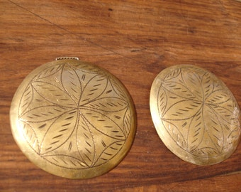 Large brass tarnished Moroccan rounded bead with flower and no holes