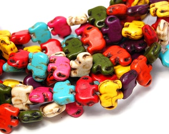 Howlite dyed carved Elephant Beads, 15x11mm double-sided mixed color -16 inch strand