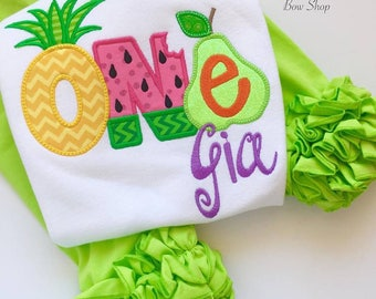 Tutti Frutti Pineapple Birthday Shirt or bodysuit for girls, Pineapple Shirt with ONE or TWO - Tutti Frutti - pineapple theme birthday shirt