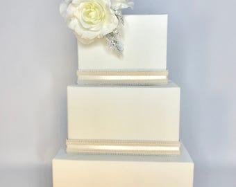 Wedding Card Box Cascade Ivory Or White Wedding Card Holder Unique Elegant Wedding Card Box Custom Box Handmade Gift Card Box