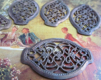 3 Antique Patina  Brass Findings