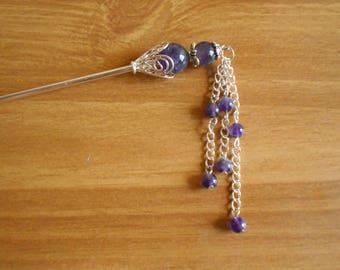 Amethyst Elegance  -   amethyst and silver hair sticks, February birthstone, hairstick, hairpin, hair chopstick