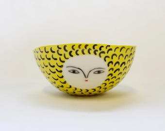 Ice-cream yellow bowl - hand made bowl / container - one of a kind