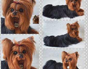 Custom Yorkshire Terrier Artist Needle Felted Dog Sculpture Dog Portrait Sculpture of your pet Yorkie pet replica stuffed dog Pet Portrait