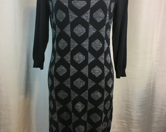 Vintage Black Gray and Silver Metallic Sweater Dress by Attention, Cotton and Rayon, Ladies Medium