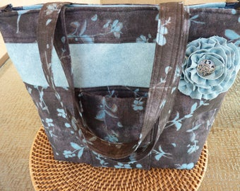 Handcrafted Large Zipper Shoulder Bag/Handbag/Purse/Tote Bag with Fabric Flower