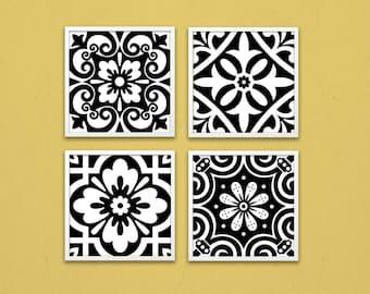 Geometric prints, printable 8x8 art, Instant download pattern, printable pattern, black white pattern, tile decor, black tiles, digital art