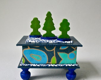 OOAK Gift Box in Blues and Greens with Vintge Toy Trees for Home or Office Decor