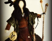She Who Calls the Herds. Needle felted art doll.